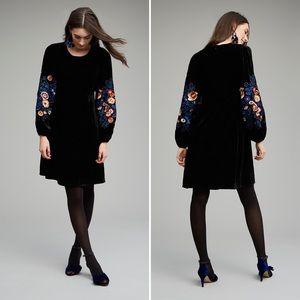 Anthro Seen Worn Kept Velvet Floral Sleeve Dress